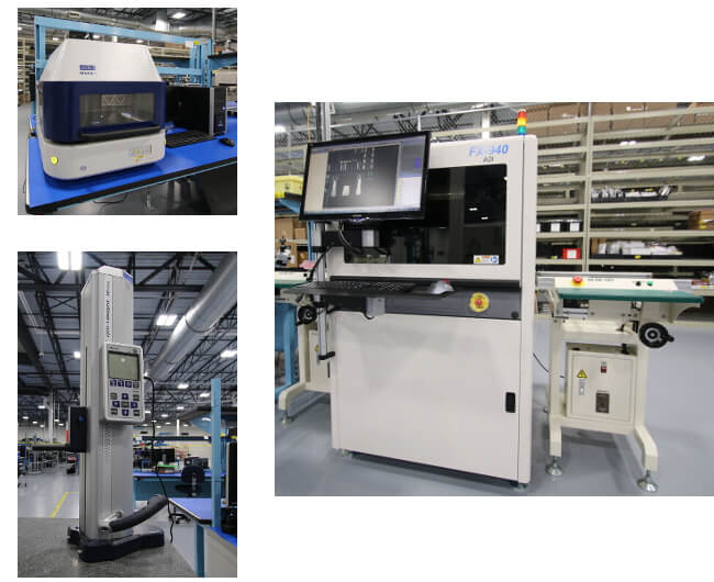 XRF Machine, Height Gauge, and AOI Machine Photos